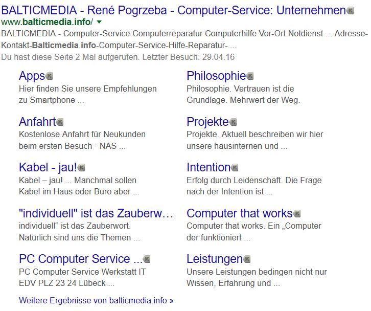 Sitelinks Balticmedia.info - René Pogrzeba WORDPRESS Website Webseiten Erstellung Internetauftritt Responsive Design